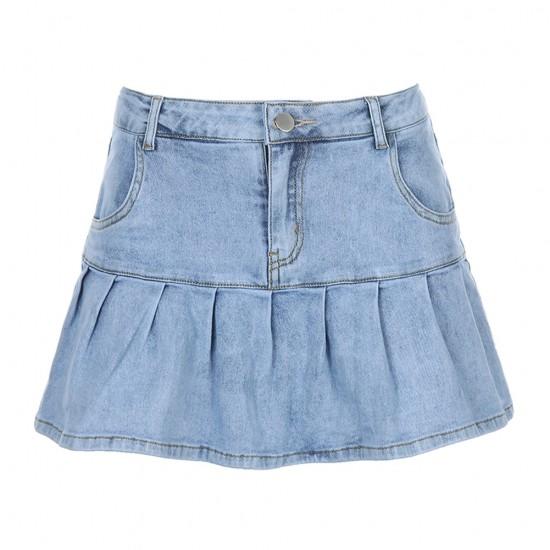 Women Skirts Jeans Skirts Partywear High Waist Pleated Skirts Zipper Mini Skirts Summer  Streetwear Bottom Y2k Skinny Blue Skirt