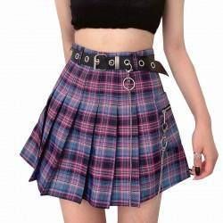 Harajuku Plaid Skirt Women 2020 New y2k High Waist Mini Tennis Skirts Uniform Chain Pocket A-line Streetwear Vintage Free Belt