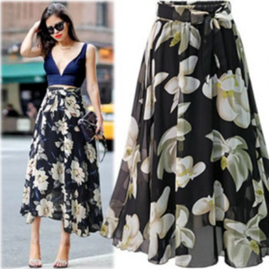 Leosoxs 2020 Spring Summer Fashion Women's Bowknot Skirt Casual Empire Chiffon Loose Vintage Floral Print Mid Length Lady Skirt